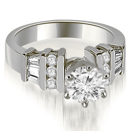 1.25 cttw. 14K White Gold Round and Baguette Cut Diamond Engagement Ring
