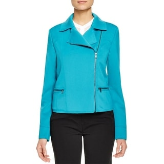 T Tahari Womens Rachael Jacket Scuba Asymmetrical Zip