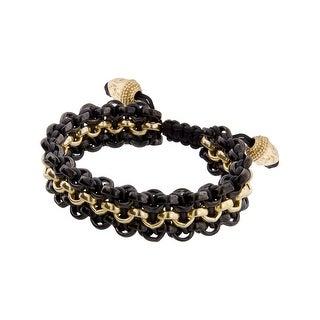Links Women's Black-Three Row Bracelet in 14K Gold & PVD Plate - Two-tone