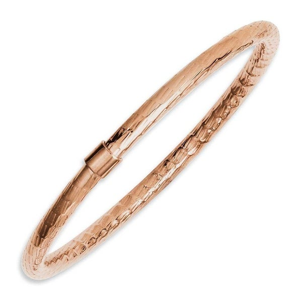 Chisel Stainless Steel Rose IP-plated Textured & Polished Hollow Bangle