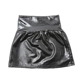 Little Girls Black Metallic Shine Stretchy Lightweight Soft Skirt 3T-5