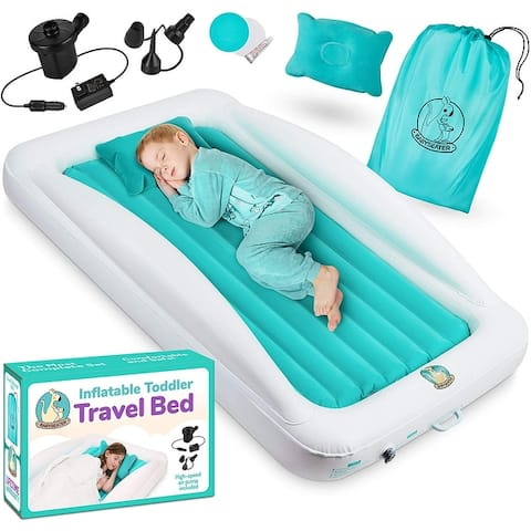 BABYSEATER Toddler Air Mattress with Sides Includes Air Pump w/ pillow