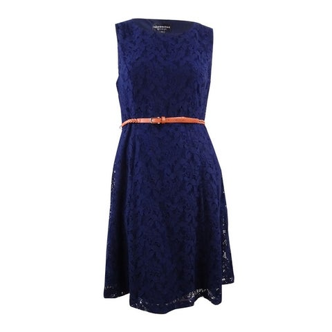 Connected Women's Belted Floral Overlay Lace Dress - Navy
