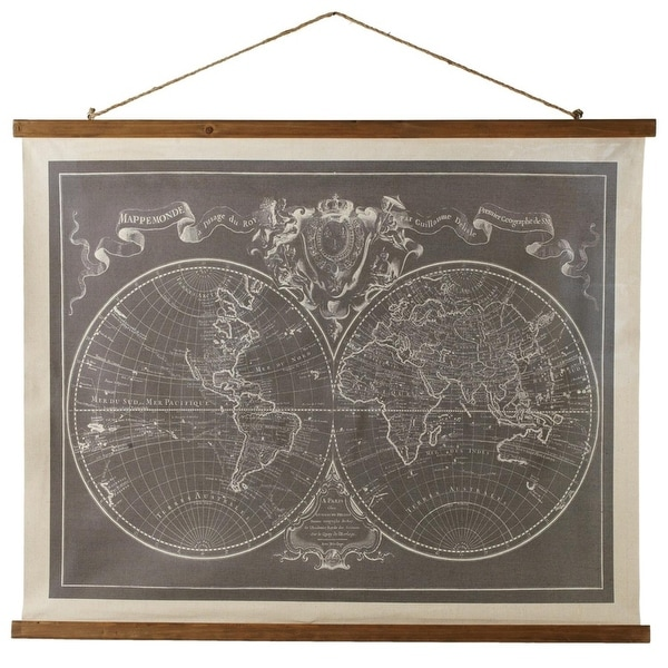 Pack of 2 Antique World Map Hanging Canvas Wall Art Decor 41.25