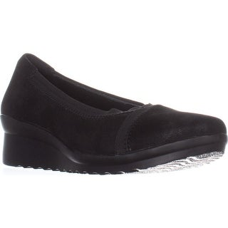 Clarks Caddell Dash Wedge Pumps, Black Synthetic