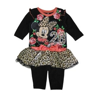 Disney Baby Girls Black Coral Leopard Minnie Mouse Pant Outfit 3-9M (3 options available)