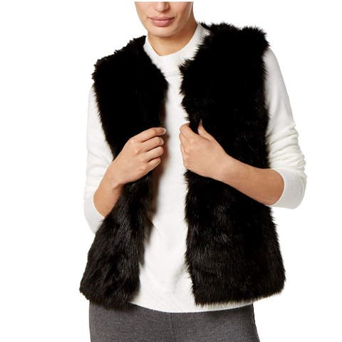 INC International Concepts Women's Knit and Faux Fur Vest Black Medium/Large - Medium