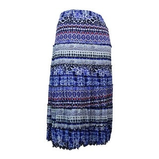 JM Collection Women's Ruffled Trim A-Line Mesh Skirt - L