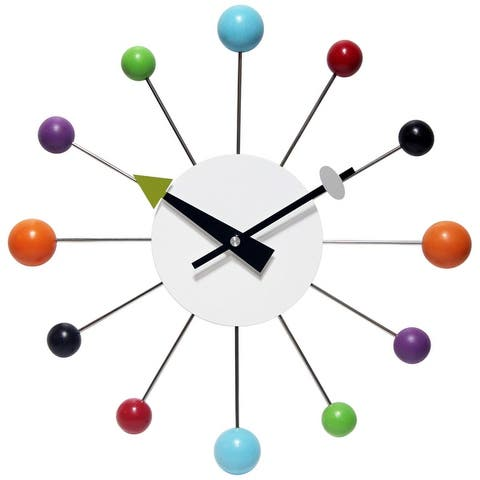 Orb Spoke 15 inch Mid-Century Modern Ball Wall Clock, Multicolor