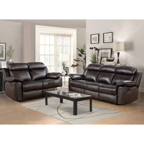 Abbyson Braylen Top Grain Leather Manual Reclining Sofa and Loveseat Set