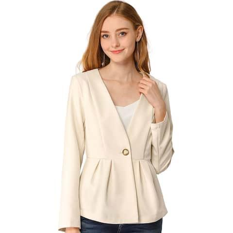 Allegra K Women's Peplum Classic One Button Work Office Blazer Jacket