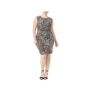 Anne Klein Womens Wear to Work Dress Ruched Printed