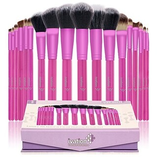 Ivation Cosmetics 20 Pieces Natural Facial Makeup Brush Set with Leather Pouch (Pink) - Pink