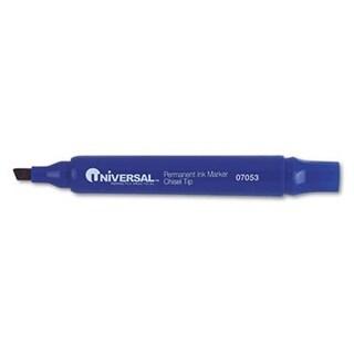 Universal 07053 Permanent Markers Chisel Tip Blue Dozen