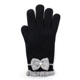Womens Faux Pearl Bow Gloves Lined