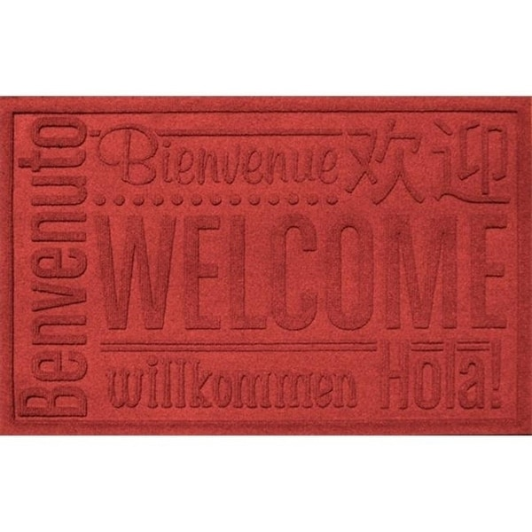 20356650023 Water Guard World Wide Welcome Mat in Solid Red - 2 ft. x 3 ft.