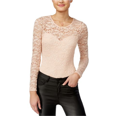 Material Girl Womens Illusion Lace Bodysuit