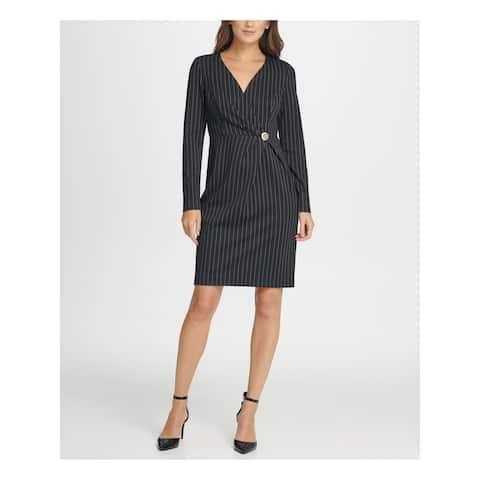 DKNY Black Long Sleeve Above The Knee Wrap Dress Dress Size 4