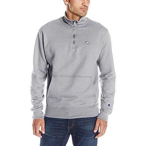 Champion Mens Powerblend Quarter-Zip Fleece, Oxford Grey, Xl