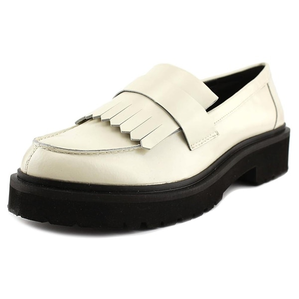 Nine West Account Women Round Toe Leather Ivory Loafer