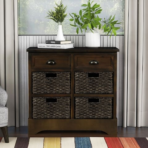 Rustic Storage Cabinet With Two Drawers And Four Classic Fabric Basket
