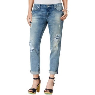 Tommy Hilfiger Womens Copain Boyfriend Jeans Embroidered Destroyed