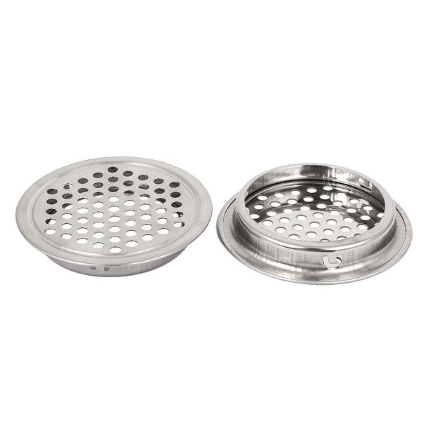 53mm Dia Stainless Steel Round Mesh Wardrobe Cabinet Air Vent Louver Cover  2 Pcs