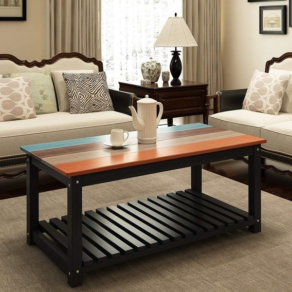 Shop Solid Wood Coffee Table 48 Colorful Living Room Center Table