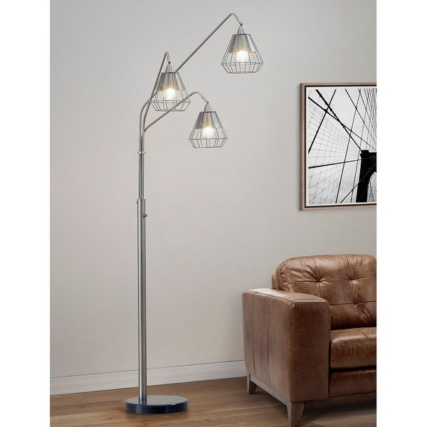 Midtown 3-light Wire Shades Dimmable LED Arch Floor Lamp. Opens flyout.