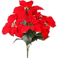 "Poinsettia Bush X5 18""-Red"