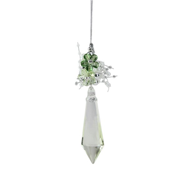 "7"" Winter Solace Clear and Green Floral Diamond Christmas Drop Ornament"
