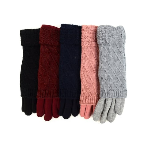 Women's Double Layer Knitted Touch Screen Winter Gloves