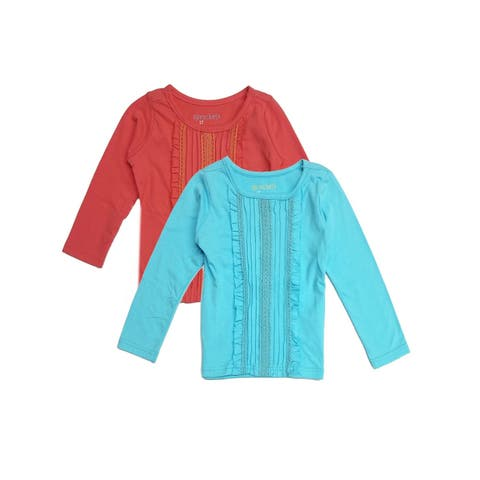 Sprockets Little Girls Blue Coral Pleated Long Sleeved 2 Pc Blouse Set