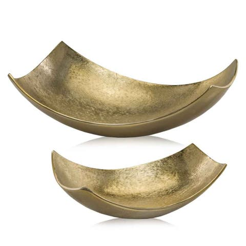 HomeRoots Brushed Gold, Large Scoop Bowl