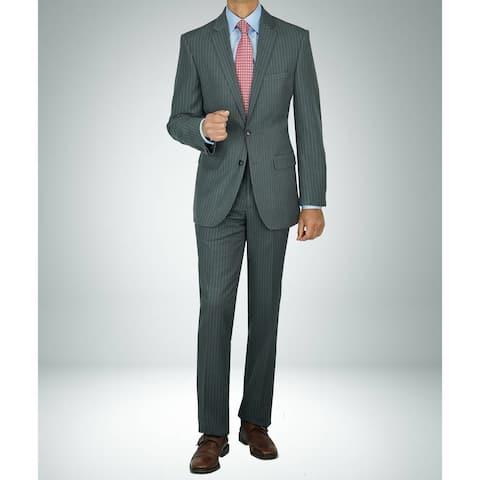 Carlo Studio Charcoal Grey Pinstripe Modern-Fit Suit