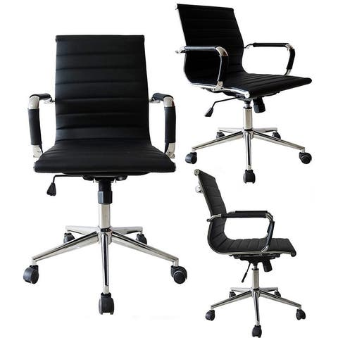 Black Executive Ergonomic Mid Back Office Chair Ribbed PU Leather Adjustable for Manager Conference Computer Desk