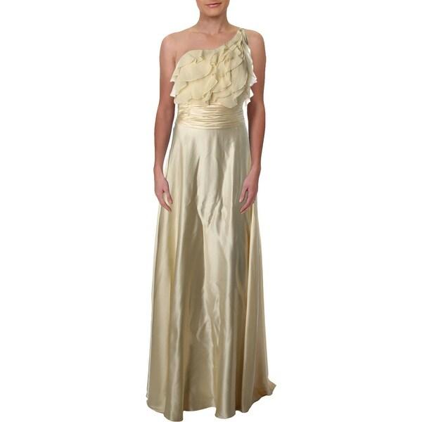 Aidan Mattox Womens Evening Dress Satin One Shoulder