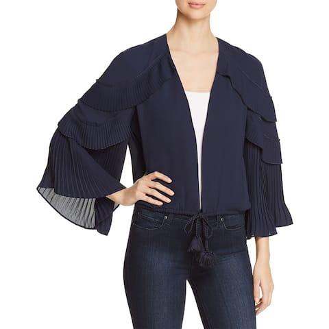 Kobi Halperin Blue Women's Small S Carissa Ruffle-Sleeve Jacket