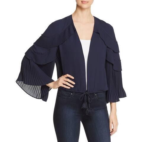 Kobi Halperin Blue Women's XS Carissa Pleated Ruffle-Sleeve Jacket