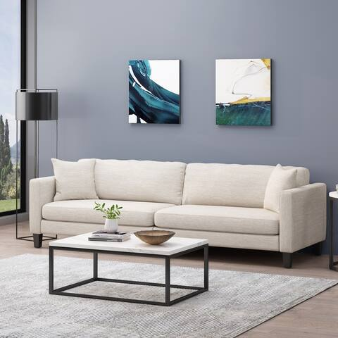 Clemons Contemporary 4 Seater Fabric Sofa with Accent Pillows by Christopher Knight Home