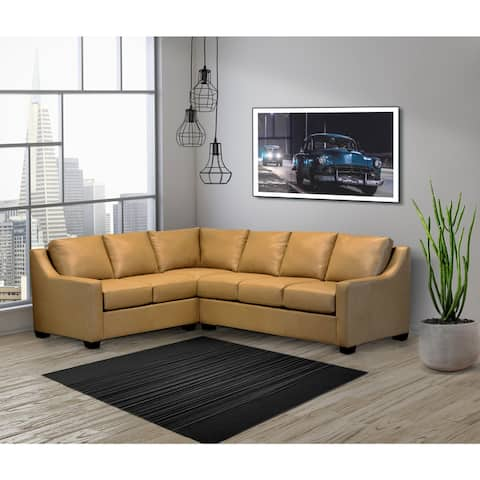 Rother Beige Top Grain Leather Sectional