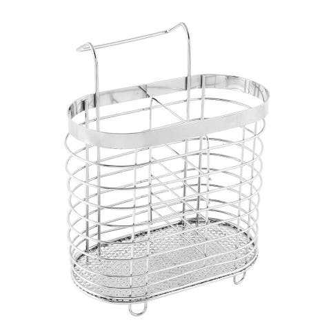 Unique Bargains Chopsticks Spoon Stainless Steel Hollow Out Basket Case Cage Holder Silver Tone