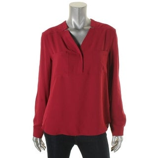 Nine West Womens Henley Top Polyester Long Sleeves - l