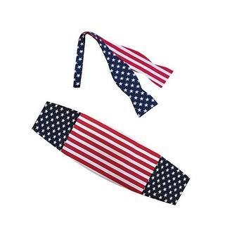 American Flag Stars and Stripes Bow Tie and Cummerbund Set