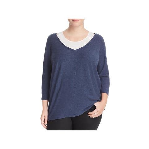 Vince Camuto Womens Plus Pullover Sweater Hi-Low Layered