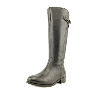 Trotters Lucky Women N/S Round Toe Leather Black Knee High Boot