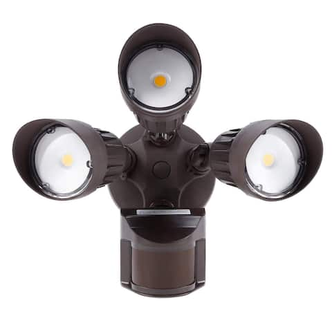 Outdoor 3-Head LED Motion Activated Security Light, Floodlight with Photo Sensor
