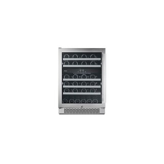 """Avallon AWC241DZLH 24"""" Wide 46 Bottle Capacity Dual Zone Wine Cooler with Left Swing Door - Stainless Steel - N/A"""