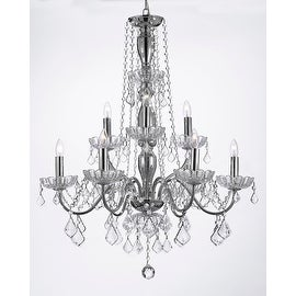 Elegant Crystal Chandelier Lighting 9 Light Fixture