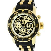 Invicta Men's Pro Diver  Gold Silicone Japanese Chronograph Diving Watch